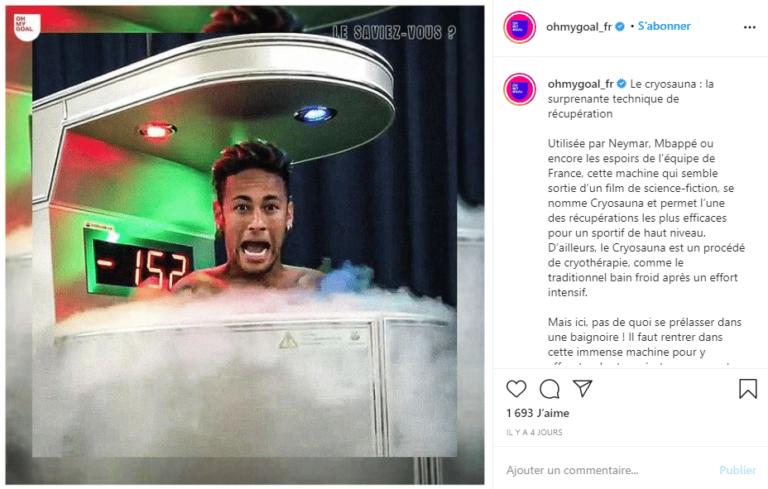 Neymar utilise la cryothérapie Corps Entier pour récupérer.