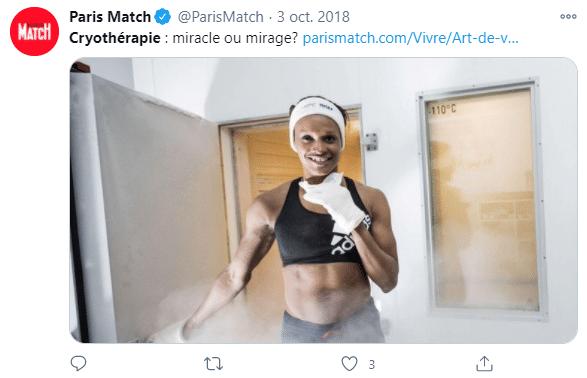 La joueuse de handball Allison Pineau, championne du monde de handball, fait de la cryothérapie pour récupérer de ses entraînements.